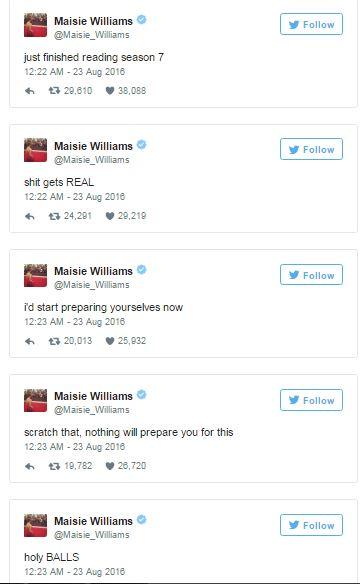 maisie williams tweet