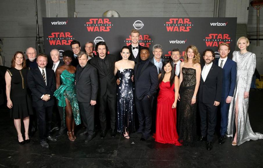 La famiglia di Star Wars per la première di 'Star Wars: Gli ultimi Jedi'